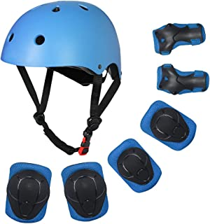 Toddler Bike Helmet Knee Elbow Pads and Wrist Guards, Adjustable Kids Helmet Protective Gear Set for 3-8 Years Boys Girls Child Skateboard Rollerblading Cycling Scooter Hoverboard (Blue, S)