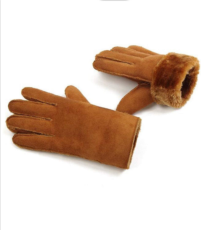 Samantha Warm Gloves Winter Thick Faux Wool Sheepskin Gloves Mittens Unisex Wind Suede Leather Faux Fur Women Men Warmer Cycling Gloves (Color : Light Tan Men, Size : One Size)