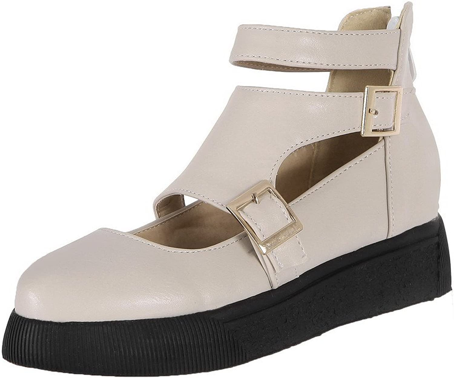 AmoonyFashion Women's Buckle PU Round Closed Toe Low-Heels Solid Pumps-shoes
