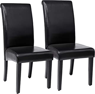 SONGMICS 2 x Chaise de Salle à manger, en PU, avec Dossier haut, Noir LDC21B