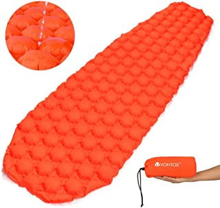 V VONTOX Sleeping Pad – Ultralight Inflatable Sleeping Mat, Best Self Serving Pad for Camping, Suitable for Camping, Backpacking, Hiking, Outing, Mountaineering – Carry Bag, Repair Kit -Orange Round