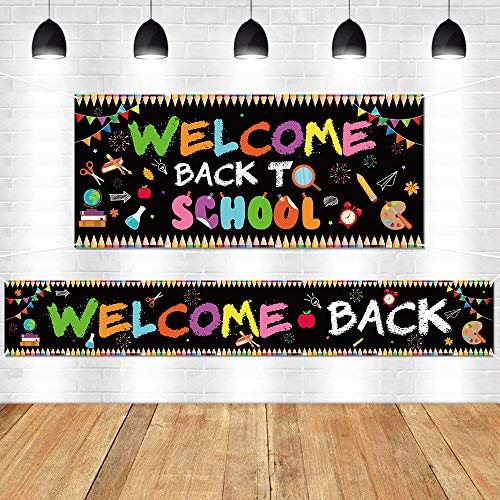 WATINC 2pcs Welcome Back to School Backdrop Banner, Extra Large First Day of School Photography Background for Back to School Party Decorations Supplies, Indoor Outdoor Photo Props Classroom Decor