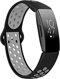 DYKEISS Compatible with Fitbit Inspire HR Fitness Tracker Sport Band, Soft Silicone Replacement Accessory Women Men Breathable Wristband Strap, Black/Gray, Small