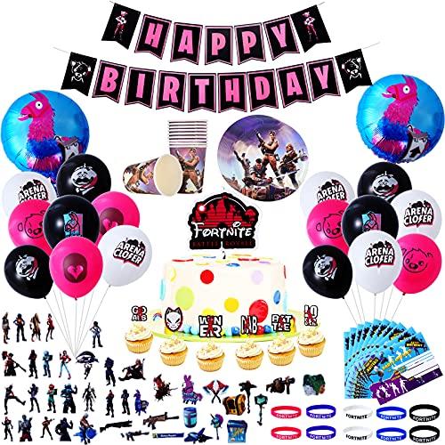 Herefun 105pcs Artículos de Fiestas para Fanáticos de Juegos, Cumpleaños Fiesta de Videojuegos Tema, Decoración de la Tema de Videojuegos con para Pulseras Fanáticos de Videojuegos Chico (Negro)
