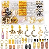 Messen 121Pcs Dreadlocks Jewelry Crystal Wire Wrapped Loc Adornment Imitation Wood Beads Braid Accessories Hair Cuffs Beard Tube Beads Hair Coils Rings Pearl Pendants for Braids Hair Clip Decoration