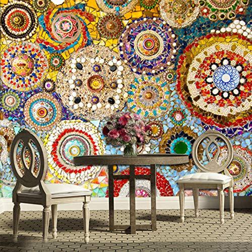 Fotobehang 3D Stereo mozaïek tegel model wandbehang Europese stijl woonkamer TV sofa achtergrond muur schilderij wandbehang 250cm (W) x 175cm (H)