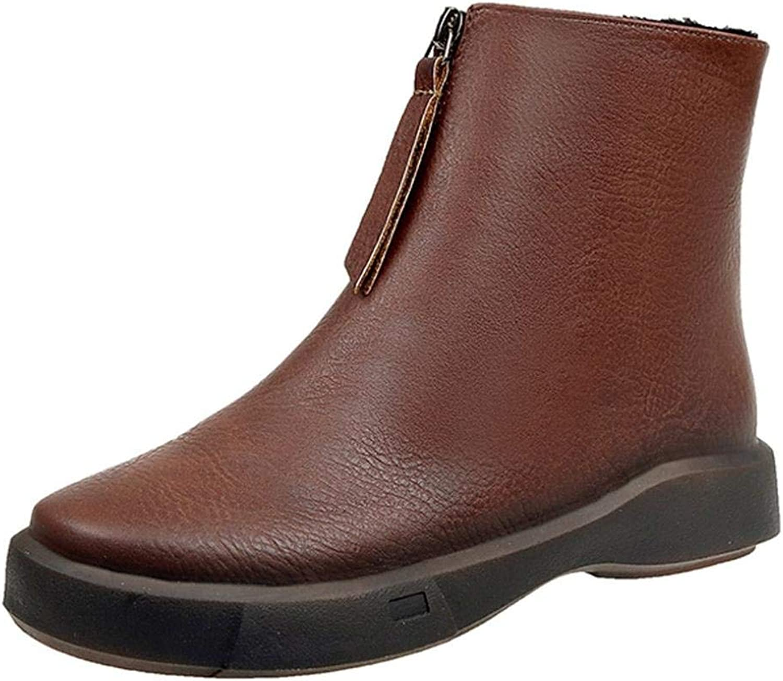 JaHGDU Womens Winter Fashion Flat shoes Keep Warm Martin Boots Leisure Elegant Cosy Wild Tight Super Quality Brown Black for Womens