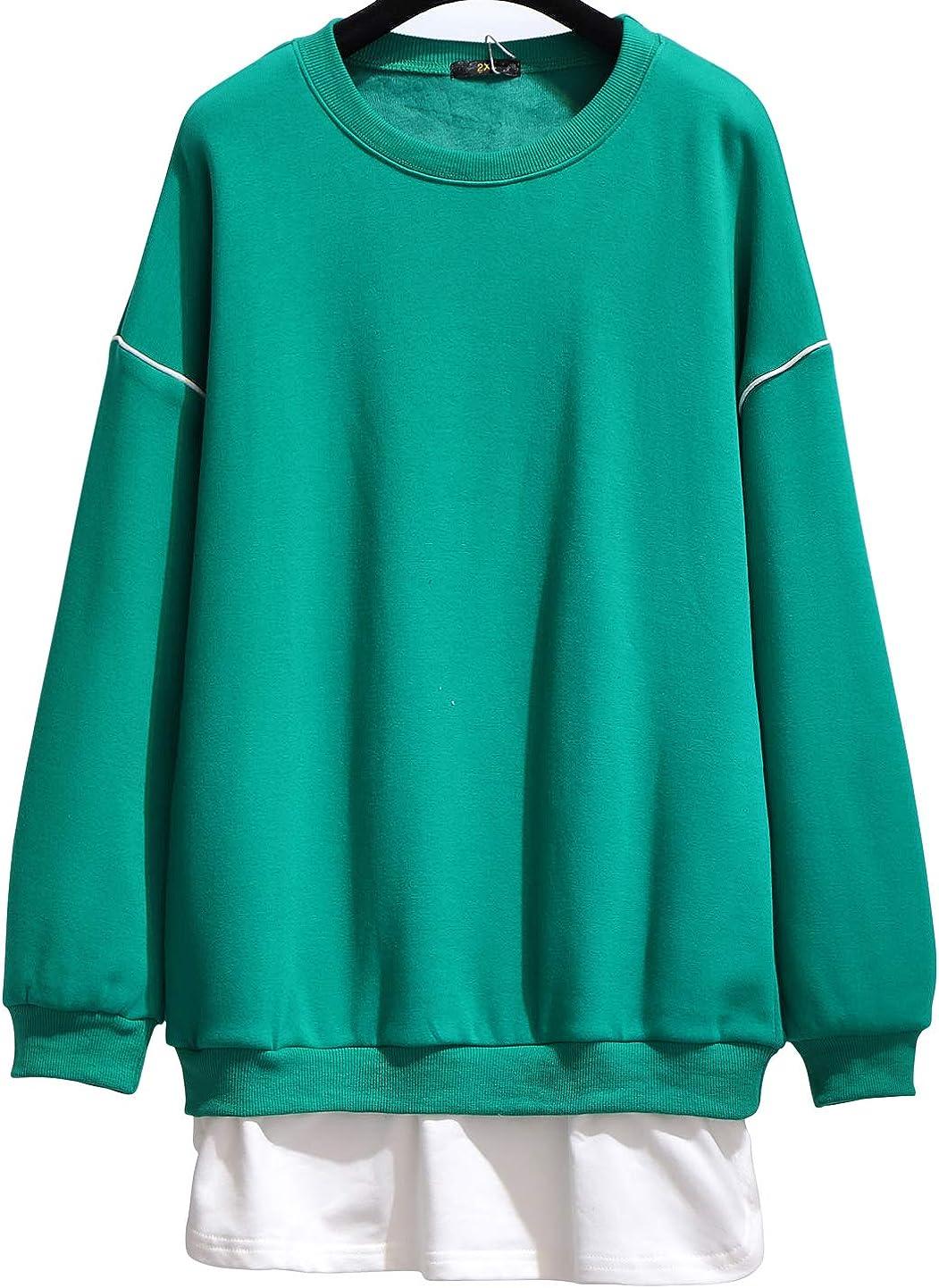 chouyatou Women's Casual Long Sleeve Baggy Plus Size Fleece Lined Fake Twinset Pullover Sweatshirt Tops