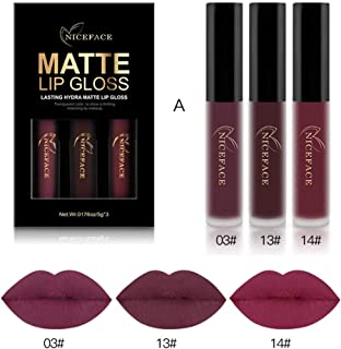 Coosa 3PCS of 3 Colors Madly MATTE Lipstick Non-stick Cup Waterproof Lipgloss-Set A