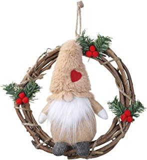 HMASYO Handmade Swedish Gnome Wreaths for Front Door - Small Santa Tomte Plush Elf Ornaments Christmas Wreath Garland for Home Kitchen Wall Window Christmas Decoration (Khaki)