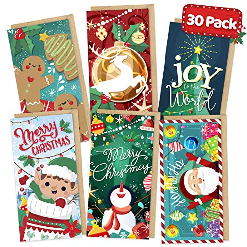 Christmas Money Cards with Kraft Envelopes - 30 Pack - Xmas Gift Card Envelopes Christmas Card Money Holders Cards for Cash Christmas Bulk Assorted - Snow Festive Winter Holiday Box Set
