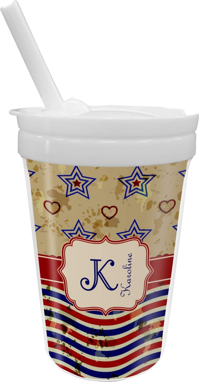 Vintage Stars Stripes Sippy Personalized Cup Straw with New mail Fashion order