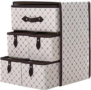 RemeeHi Mini commode avec 5 tiroirs et 3 étagères - Armoire de rangement avec poignées - Tissu imprimé non tissé épais - B...