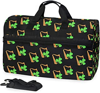 Travel Duffle Bag Sports Luggage Harp Irish Lucky Backpack Tote Gym Bag for Man Women