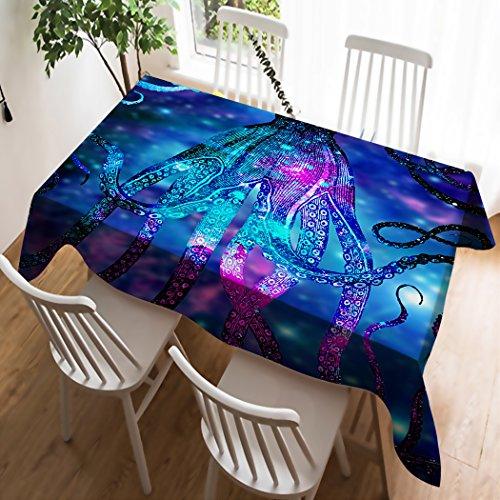 Violetpos Nappe linge de table Nappe Antitaches Lin Couverture Lin facile d'entretien lavable bleu GALAXIE Univers Marine monde animaux, Coton, bleu, 100 x 140 cm