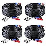 ANNKE Paquete 4pcs Cable 30m/100 pies de BNC Video Fuente de Alimentación para Kit CCTV Cámara de Vigilancia DVR Sistema Seguridad Hogar (4 pack negro)