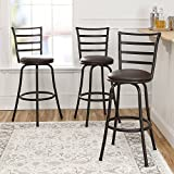 3-Piece Ladder Back Ajustable Height Sturdy Metal Frame Swivel Barstool, Comfortable Seat Cushions, Hammered Bronze Finish