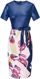 Janestone Women Tunic Knee Length Colorblock Business Bodycon Pencil Dress with Belt