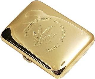LIFANGAU Cigarette Case, Portable Cigarette Case, Personalized Cigarette Box, Send Father Birthday Gift (Color : Gold)