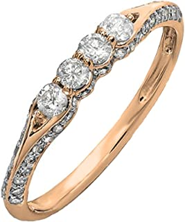 0.50 Carat (ctw) 14K Gold Round Diamond Ladies Anniversary Wedding Band Stackable Ring