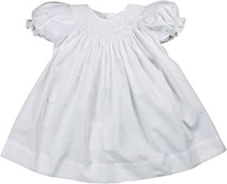 Baby Girls' Daygown with Wave Smocking, White