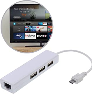 DigitCont 2nd Generation Micro USB Ethernet Adapter with USB OTG Hub Compatible with TV Stick, Chrome-cast Ultra/2/1/Audi...