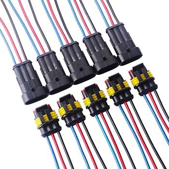 Connecteur de Fil Keenso 1.5mm Kit de 6 Broches Prise de Connecteur Plug /Électrique Terminaux C/âble de Verrouillage pour Moto Voiture Camion Imperm/éable /à Eau