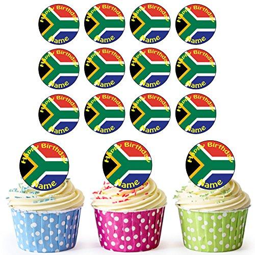 Südafrikanische Flagge 24 Personalisierte Vorgeschnittene Kreise - Essbare Cupcake Aufleger / Geburtstagskuchen Dekorationen