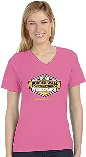 Donald Trump Border Wall Construction Company V-Neck Fitted Women T-Shirt