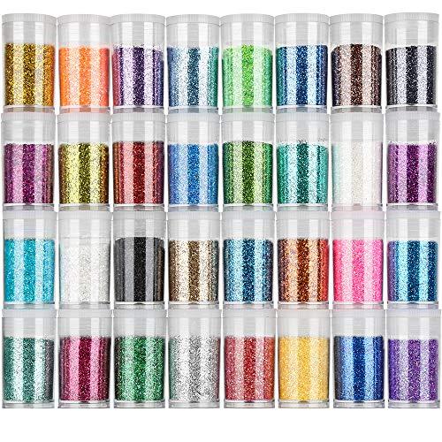 FANDAMEI 32 Farben Glitzerpulver Set, Glitzer Pulver Glitter Bunte Glitzerpuder zum Basteln für Dekoration, Karten, Papier, Nagelkunst