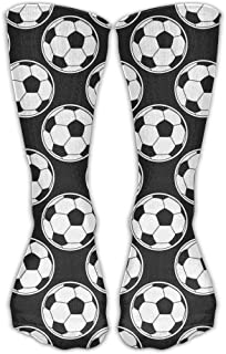 Bigtige, Calcetines de mujer Lady Girls Classics Crew Balones de fútbol Calcetines deportivos negros personalizados 50cm de largo-Toda la temporada