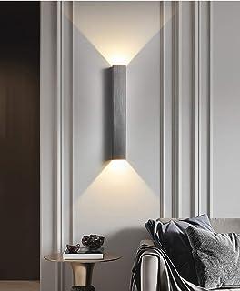 Phube 12W Aluminio LED-COB Lámpara de Pared Arriba Abajo Iluminación de Pared Decoración Moderna de Interior Luz de Pared Aplique de Pared Blanco Cálido para Sala Estar Dormitorio Corredor(Gris)