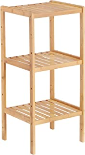 Bamboo Bathroom Shelf 3-Tier Small Utility Storage Shelf Rack, Adjustable Layer Plant Flower Display Stand Narrow Shelving Unit for Living Room, Kitchen, Balcony
