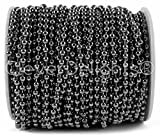 CleverDelights 3.2mm (1/8') Ball Chain - Gunmetal Color - 30 Feet