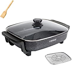 AJH BBQ Hot Pot Hot Pot/Pan Barbecue électrique/Type de Bouton Multifonction Réglage de la température Gratuit, Poisson gr...