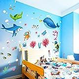 Pegatinas de Pared Vinilo Infantil Decorativo Adhesivo Decoración para Hogar Habitación de Niños Animales Multicolores Niños Decoración infantil Mundo Submarino Ballena