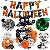 """TEDORU XXL Deko Set für Halloween zum Gruseln   """"Happy Halloween"""" Folienluftballons + 3 XXL Grusel-Folienluftballons + 30 Luftballons mit Motiven + 20 Plastik Spinnen Tischdeko + Leucht-Spinnennetz"""