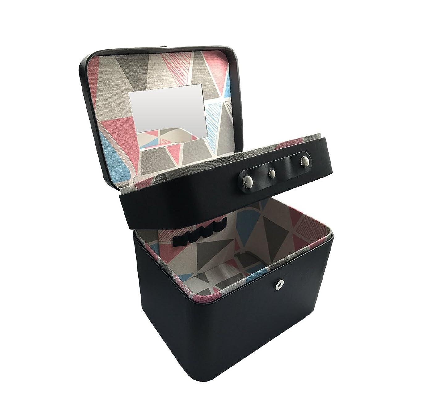 見る眠るふけるSZTulip コスメボックス メイクボックス 大容量収納ケース メイクブラシ化粧道具小物入れ 鏡付き 化粧品収納ボックス (ブラック)