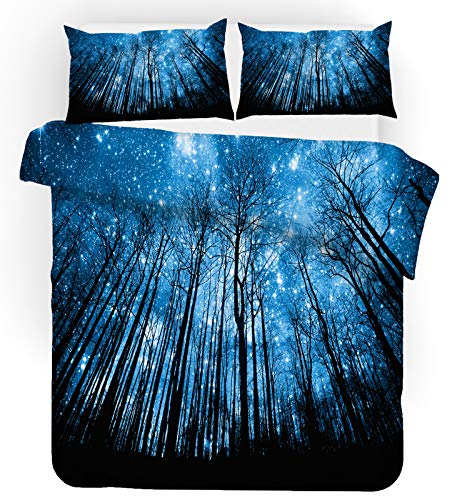 Earendel Copripiumino Cielo Planetario Universo Set Biancheria Letto Pianeta Blu 2/3/4PCS Copripiumini/Lenzuola/Federe,Singolo,Matrimoniale,King (Singolo-140×210cm(3PCS),6)