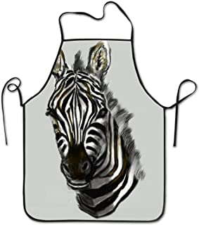 KDJGVM133 Cooking Apron Kitchen Apron Bib Aprons Zebra Head Chief Apron Home Easy Care for Kitchen, BBQ, and Grill