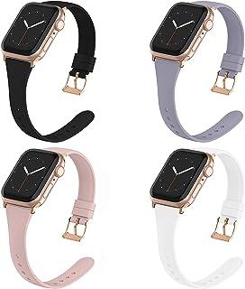BarRan Compatível com Apple Watch Pulseira 38MM 40MM 42MM 44MM para mulheres homens, Silicone macio Narrow Slim Replacemen...