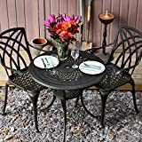 <span class='highlight'>Lazy</span> <span class='highlight'>Susan</span> Anna 80cm Round Garden Table in Antique Bronze with 2 Emma Chairs | Garden | Cast Aluminium | Rust Proof | Easy Assembly | Weatherproof | 12 Month Warranty