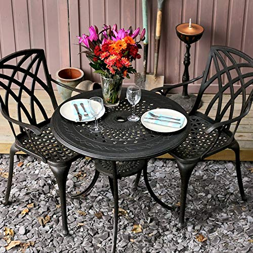 Lazy Susan Anna 80cm Round Garden Table in Antique Bronze with 2 April Chairs and 2 Stone seat pad cushions | Garden | Cast Aluminium | Rust Proof | Easy Assembly | Weatherproof | 12 Month Warranty