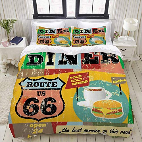 Yaoni Duvet Cover,Route 66 Nostalgic Diner Signboard Grunge Toned Food Drink Coffee Burger Illustration,Bedding Set Ultra Comfy Lightweight Microfiber Sets