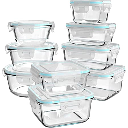 Glass Food Storage Containers with Lids, [18 Piece] Glass Meal Prep Containers, Glass Containers for Food Storage with Lids, BPA Free & Leak Proof (9 Lids & 9 Containers)