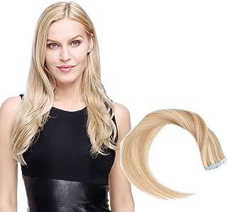 Elailite® Extensiones Adhesivas de Cabello Natural Pelo Humano Balayage 2.5g 10 Piezas Tape in 100% Remy Human Hair Lisa Brasileñas Liso - 16 Pulgada 40CM #18/613 Ash Rubio