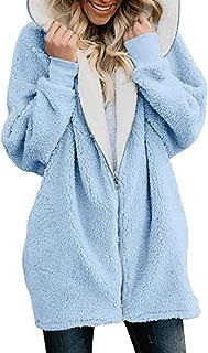 Womens Fleece Jackets Full Zip Hoodie Long Coats Winter with Pocket