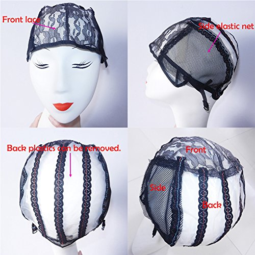 Christmas Gifts XCCOCO 1PCS Adjustable Weaving Cap for Wig Making Medium Size Mesh Lace Wig Cap For DIY Wig Black Color