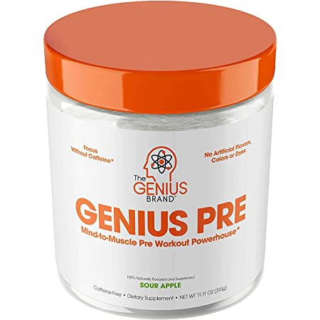 Genius Pre Workout Powder – All Natural Nootropic Preworkout & Caffeine Free Nitric Oxide Booster w/Beta Alanine & Alpha GPC   Boost Focus, Energy & NO   Muscle Builder Supplement – Essential Herbs