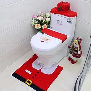 T-Raputa Santa Christmas Toilet Seat Cover Set & Rug & Tissue Box Cover Set Christmas Decorations –(Santa Claus)